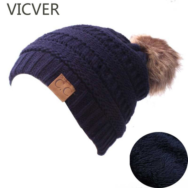 Winter Knitted Hats For Kids Pompom Skullies Beanies Cap Boys Girls Fleece Hat Children Crochet Warm Caps Thick Wool Slouchy Hat