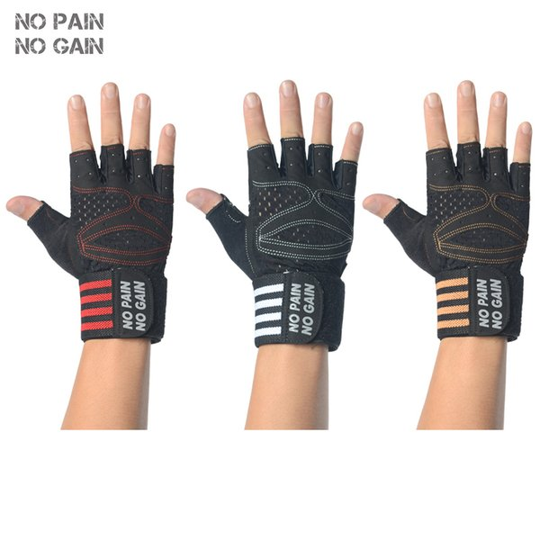 NO PAIN NO GAIN Fitness Weight Lifting Gloves Women Man Anti-skid Protective Sports Gloves Gym Breathable Training Sport X202 Y1892612