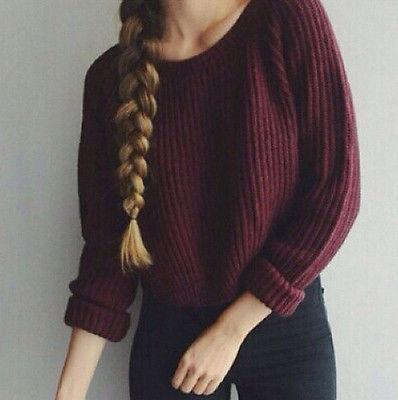 2016 Women Sweater Long Sleeve Loose Solid Knitted Jumper Knitwear Wool Warm Girls Short Sweaters One size