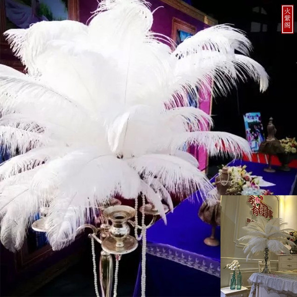 Wholesale 6-24inch White black red pink blue yellow green purple rose Ostrich Feather Plumes for Wedding centerpiece table centerpiece