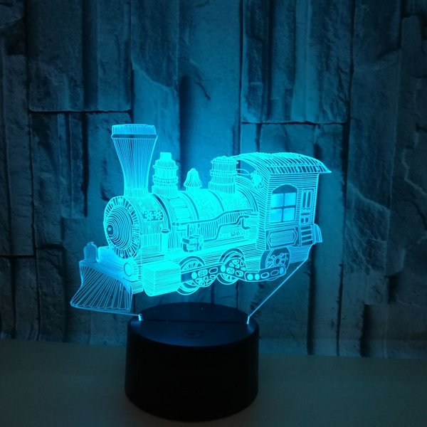 New Mini Train 3d Night Light Seven Color Touch Remote Led Visual 3d Lamp Children's Gift Custom Usb Led Light Fixtures