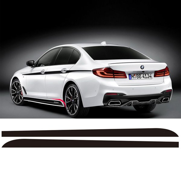 2Pieces Side Skirt Sill Racing Stripe Vinyl Sticker Side Decals For BMW G30 5 Series 2017 2018