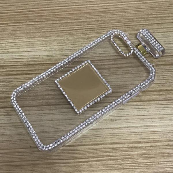 Per Iphone 6s 6 8 7 plus Fashion Strass Flacone di profumo Custodia in silicone TPU per telefono con cassa a catena Diamond