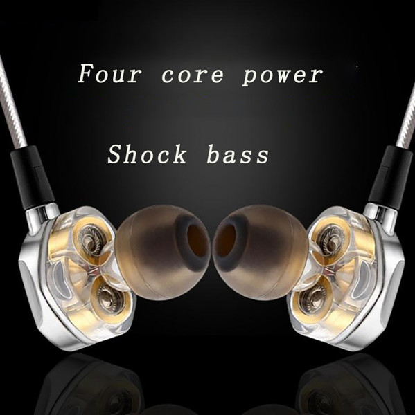 New style double moving coil double unit heavy bass stereo denoise earhone HIFI tone quality HD call sport music gold-plated earphone