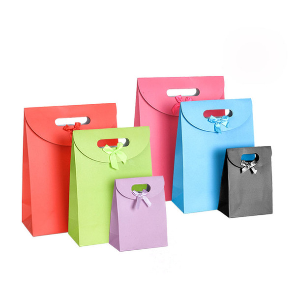 Candy Color Handle Packaging Bags with Ribbon Bowknot Candy Chocolate Cookies Gift Box Wedding Favor Baby Shower Party Gift Bag