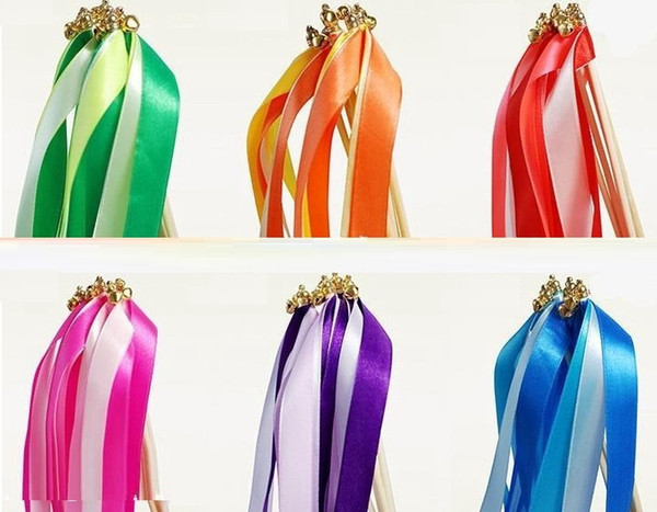 new wirling ribbon streamers wedding favor ribbon stick wish wands with bell confetti Wedding Party Decoration Practical Favor Z315