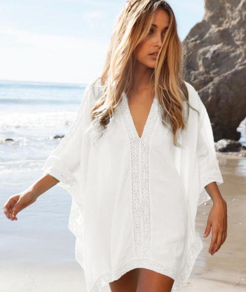 New Hot Fashion Blouse Vêtements Femmes Maillots De Bain Coton Dentelle Plage Écharpe Robe Sexy Maillot De Bain Chemise De Plage Bikini Cover Up Beachwear