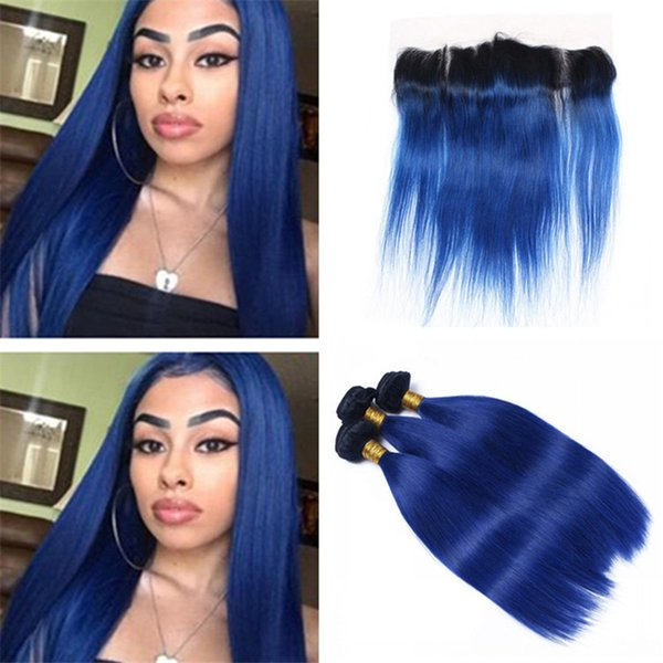 Dark Roots Blue Straight Human Hair Weave 3 Bundles with Lace Frontal Closure Two Tone 1B Blue Ombre Malaysian Hair and Lace Frontal