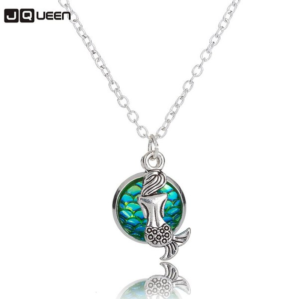 Personality Alloy Mermaid Necklace Women Fashion Geometric Round Fish Scale Pendant Long Chain Necklace Figure Girl's