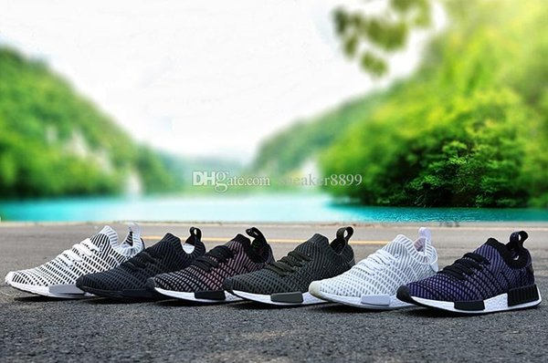 2017 new NMD R1 STLT PK Primeknit men and women sports shoes green white nmds super promotions X casual shoes training shoes