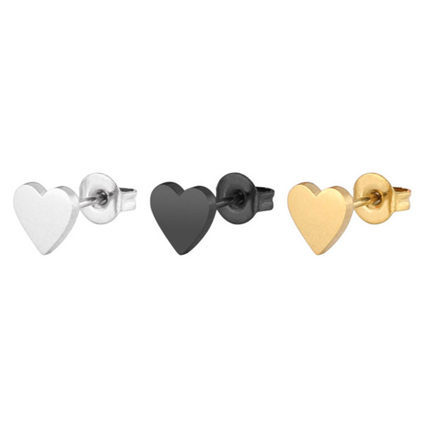 10pc/lot Black Gold Solid Heart Earrings Stainless Steel Earring Hiphop Love Ear Studs Jewelry Hiphop Women Men Earring Jewelry