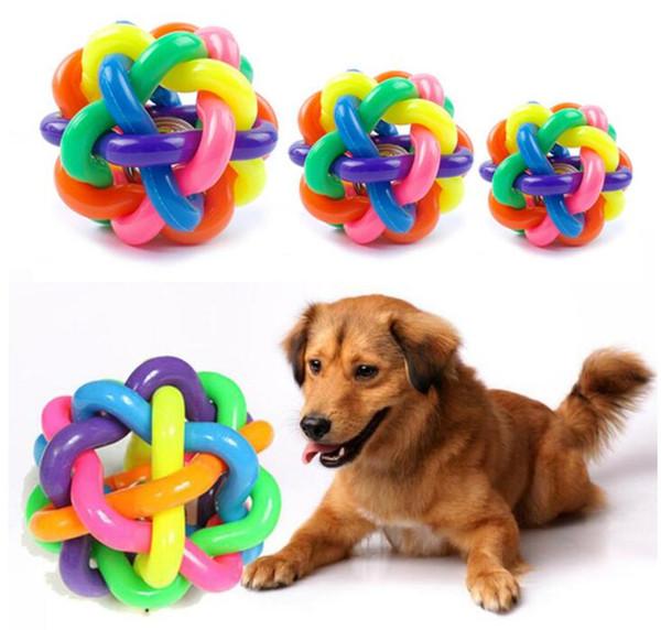 Pet Sound Toys Rainbow Knitting Colorful Small Bells Ball Proteção Ambiental Puzzle Brinquedos Treinamento Cat and Dog Essential