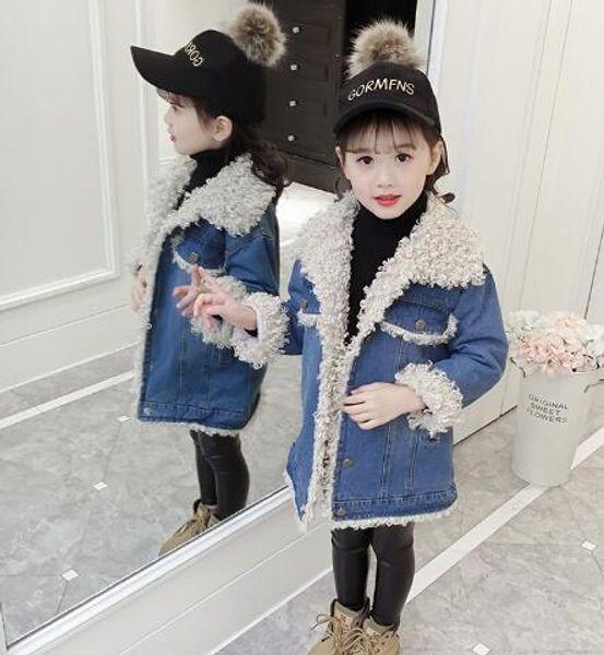 Girls' Velvet cowboy jacket, winter suit, new style Zhongda boy hair collar, thickened cotton jacket, warmth, Teddy fleece cotton clothes.