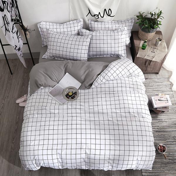 Juego de sábanas Funda de edredón de moda sábana Funda de almohada Rayas cuadradas Textil para el hogar negro Blanco Combinación de ropa de cama gris