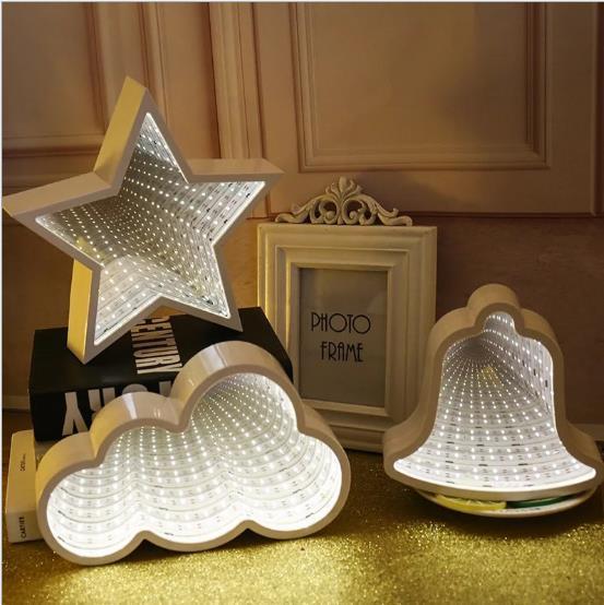 Creative lighting for tunnel lighting practical mirror modeling lamp net red background lamp home bedroom living room bedroom decoration