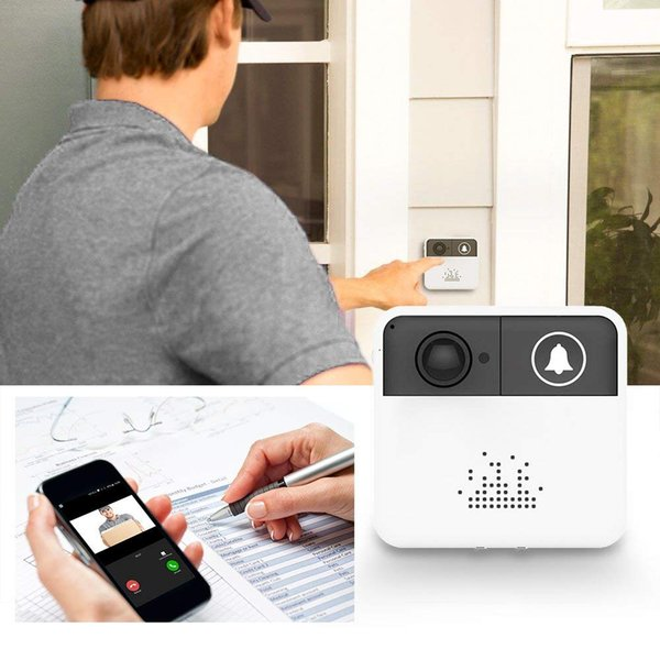 Smart Wireless Video Doorbell 720P HD WiFi Home Security Camera Door Bell Ring Real-Time Two-Way Talk Video Free App Both iOS Android