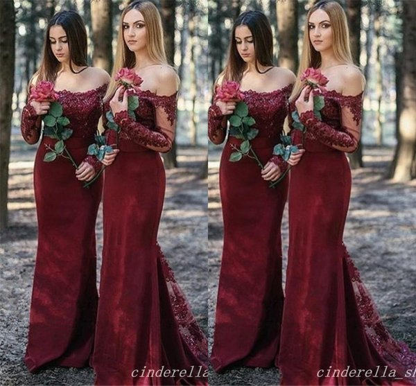 Burgundy Country Mermaid Bridesmaid Dresses 2018 Long Sleeve Off Shoulder Appliques Long Garden Wedding Guest Gowns Maid Of Honor Dress