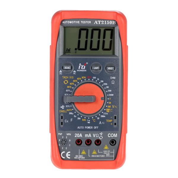 HD AT2150B Digital Multimeter Automotive Meter Tester Tachometer Cap. Temp. Tester Sensor w/ LCD Backlight