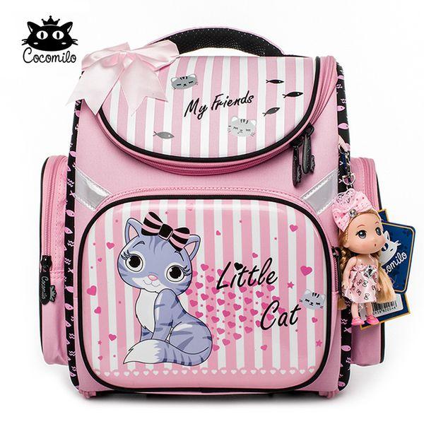 Cocomilo 2018 Children Backpack For Girls Cartoon Cat Pattern Backpacks Orthopedic School Bags Student Satchel Mochila Infantil Y18110107