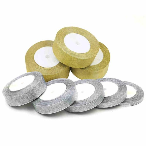 diy 25 Yard Silver Gold Silk Wedding Party Decoration Card Gift Wrapping Christmas Apparel Sewing Fabric Ribbon DIY Material