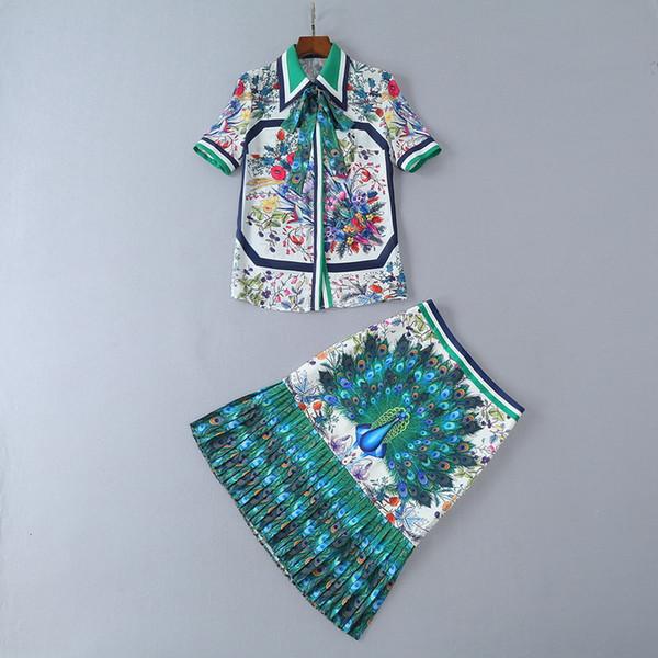 2018 Ladies Luxury Peacock Animal Print Ribbon Tied Bow Lapel Collar Top & Skirts 2 Pieces Set Suit Women Short Sleeve Fashion 180504