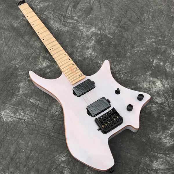 Em estoque Grote Headless guitarra elétrica com verniz branco transparente Koa top, acabamento brilhante, Black Hardware, mostrando a foto Real