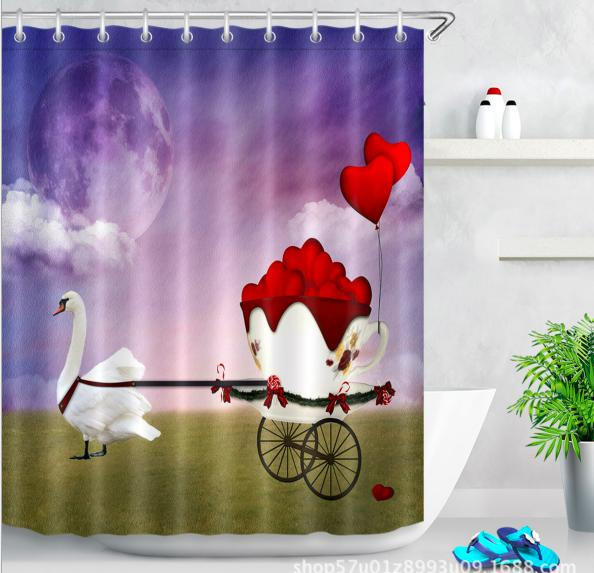 Wasserdicht Badezimmer Duschvorhang Stoff Landschaft Baum Animal Print Home Deco