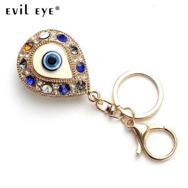 Evil Eye 2018 Fashion Alloy Lovely heart shape Charm Car Keychain Jewelry Pendant With BULE EVIL EYE BEADs Around EY4824