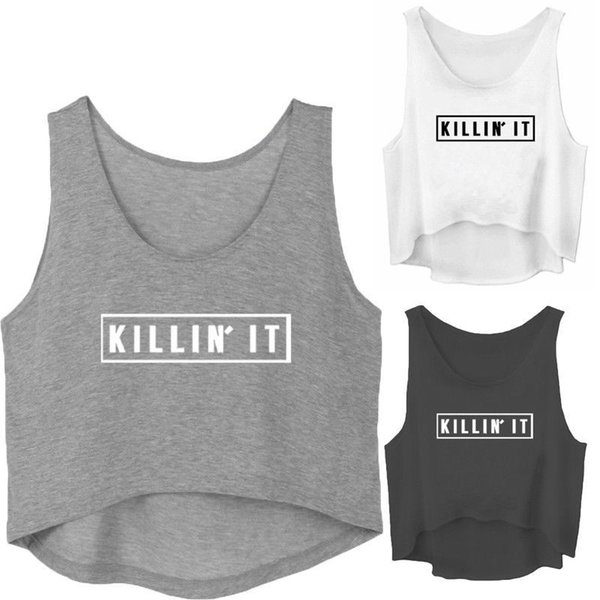 2018 Newly Summer Casual Women Ladies Tanks Tops Style Cotton Loose Solid Letter Print Tops Size SM/L/XL