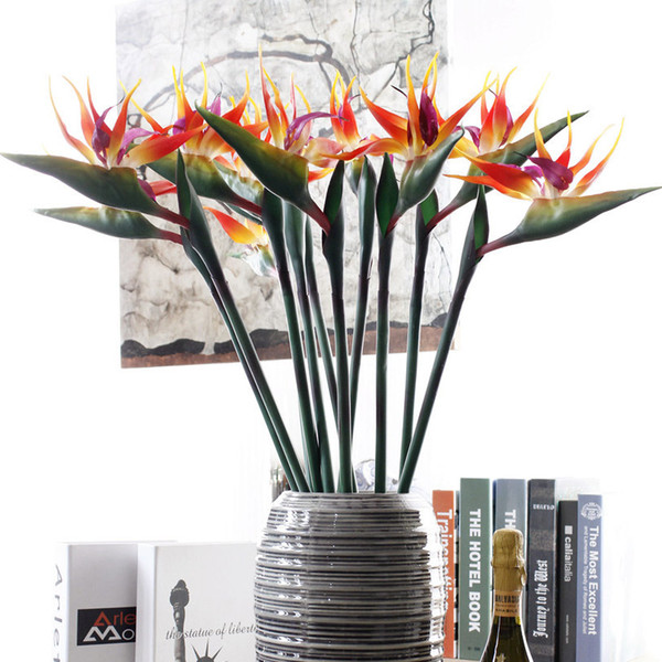 Fiori artificiali Paradise Bird Strelitzia Fiore falso di alta qualità Decorazioni per la casa per la festa di nozze Hotel Office Decor 80 centimetri