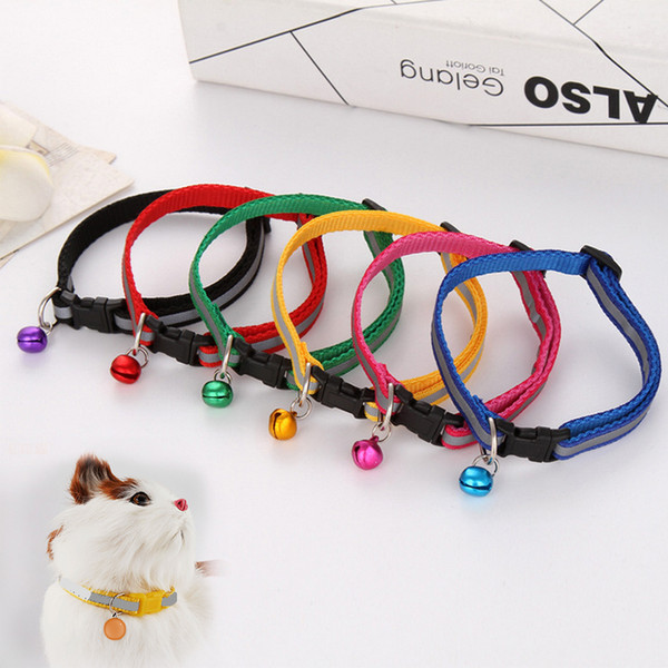 Hot Cute Dog Pet Glossy Reflective Collar Safety Buckle Bell Strap 6 Colors Adjustable strap