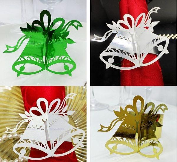 240pcs Laser Cut Hollow Bell Paper Card Napkin Ring Serviette Buckle Holder Hotel Wedding Party Favour Decoration