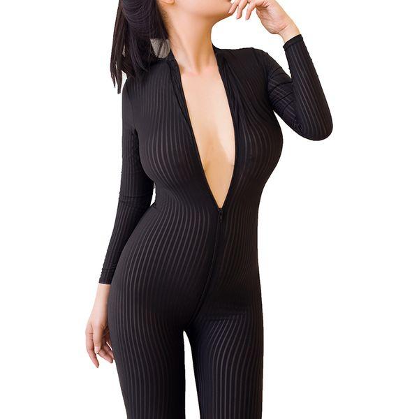Femmes Ouvert Entrejambe Érotique Lingerie Sexy Sheer Babydoll Fétiche Costumes Sexy Double Zipper Lingeries Costume Sans Couches Y18102206