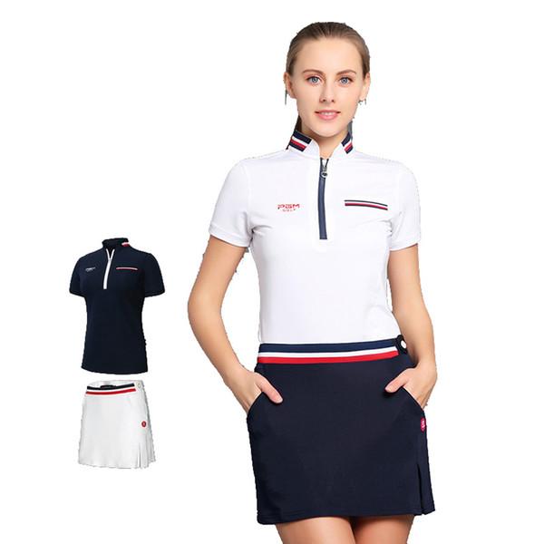 PGM Golf Clothes Female Short Divided Summer Woman Pleated Tennis Mini Skirt T-shirt Lining XS S M L XL