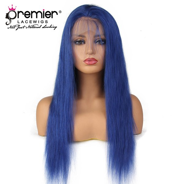 Premier Top 8A Full Lace Human Hair Wigs Silky Straight 100% Brazilian Virgin Hair Blue Lace Wigs