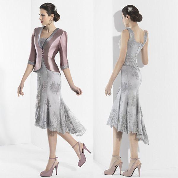 Elegante Sereia Rendas Mãe Da Noiva Vestidos Quadrados Pescoço Plus Size Alta Baixa Convidado Do Casamento Vestido Com Jaquetas Vestidos de Noite