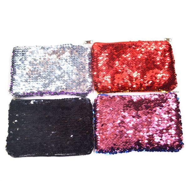 Women Makeup Bag Coin Purse Sequin Zipper Change Purse Kids Girl Women Bling Coin Bag Card Holder Mini Wallet Cosmetic Bags
