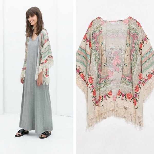 Fashion Women Kimono Cardigan Vintage Flower Printed Tassel Shirts femininas blusas Ladies Long sleeve Tops T shirt New Hot Sale