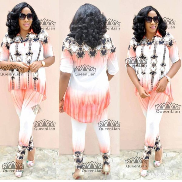2018 new (Size:L-XXXXL)African Clothes For Lady Fashion Dashiki Top and Pants Suit Chiffon Dress