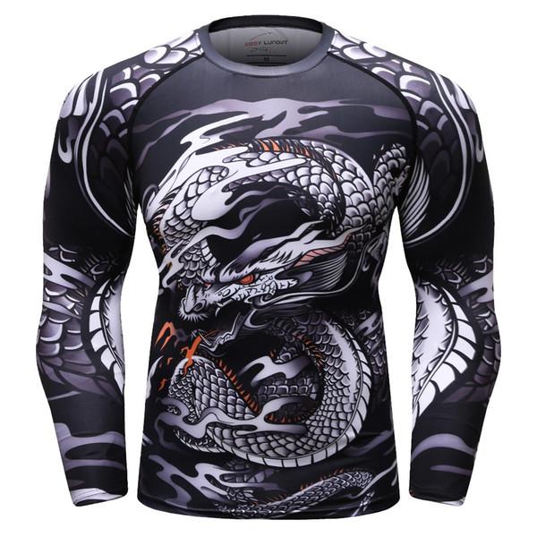 Los hombres 3D imprimieron la camiseta de MMA Rashguard BJJ camisetas de la superación de la maravilla del jersey Cross Fit camisas gimnasios Bodybuilding camiseta camisetas