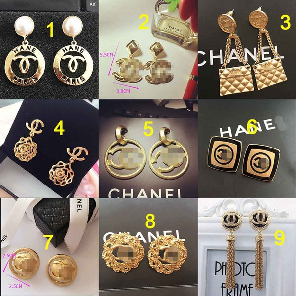 Baroque Retro Brand Letters Earrings Top Quality Crystal Pearl Dangle Drop Earring 18K Gold Ear Studs Women Party Jewelry Accessories