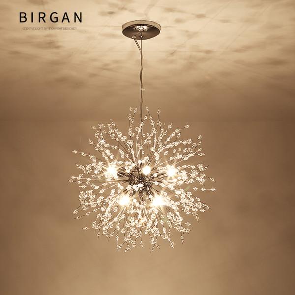 Modern Dandelion LED Ceiling Crystal Chandeliers Lighting Globe Ball Lámpara colgante para Comedor Dormitorio Sala de estar Luminaria