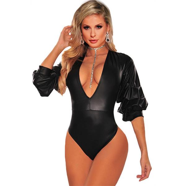 Modedesign Schwarz Plunge Neck Bodysuit Elegante Frauen Puff Ärmel Kunstleder Bodycon Overall Strampler Sexy Party Clubwear