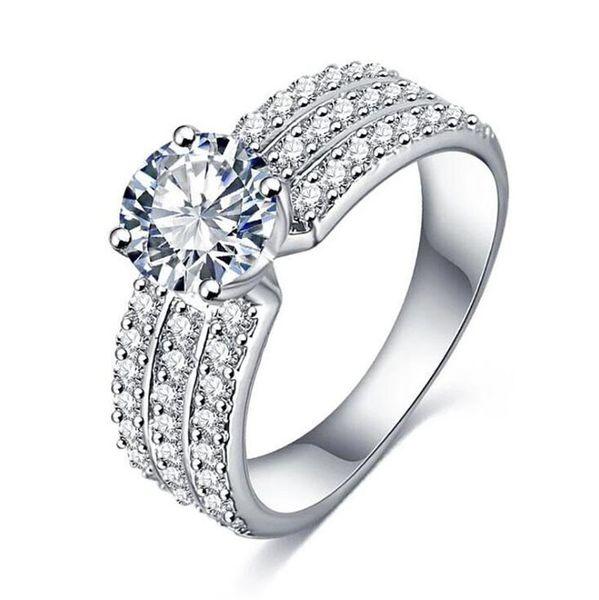 Fashion Elegant Temperament Jewelry Women Girls Silver Gold Diamond Wedding Ring Classic Vintage Rings for Women Bridal Accessories