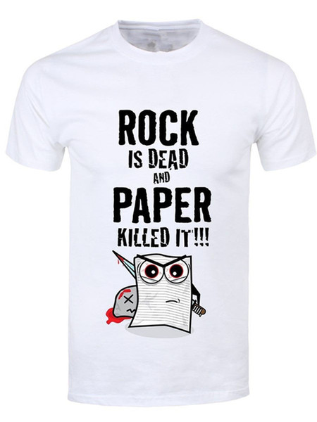 T Shirt Clothing Plus Size Rock Is Dead & Paper Killed It Short Sleeve Men Zomer Crew Neck T Shirts