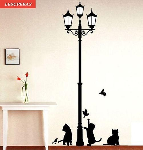 2017Fashion Ancient Lamp Cats and Birds Wall Sticker Wall Mural Home Decor Room Kids Decals Wallpaper