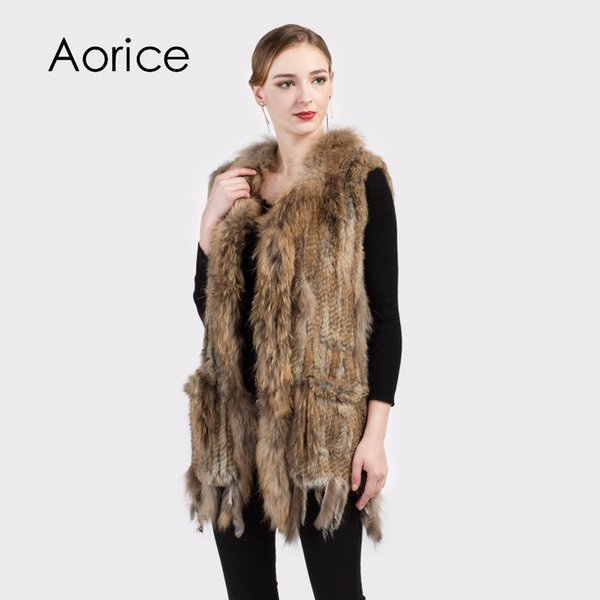 Pudi VR015 Women Genuine Natural Real rabbit fur Knitted Vests /Waistcoat/ gilet coats with tassels Raccoon Dog Fur collar Long style