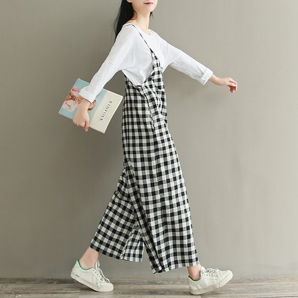 Women Jumpsuit Plaid Sleeveless Check Dungaree Jumpsuits Overalls Vintage Ladies Strappy Casual Loose Harem Pants Long Trousers