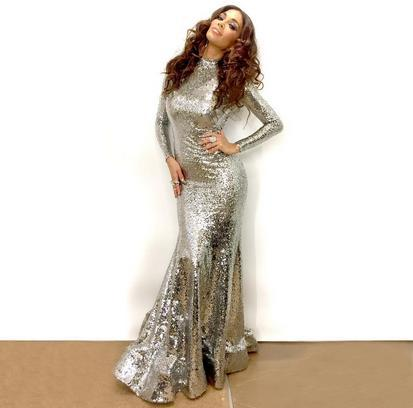 Evening dress Yousef aljasmi Long Dress Long Sleeve Sequined High Collar Silver Mermaid kim kardashian Myriam Fares