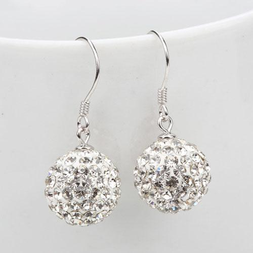 Fashion Parts Crystal Earrings for Women Dangle 10mm/12mm Jewelry hot sale new Rhinestone Mix Colors white New disco Ball beads clay